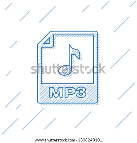 Blue MP3 file document icon. Download mp3 button line icon isolated on white background. Mp3 music format sign. MP3 file symbol. Vector Illustration