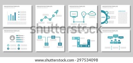 Blue multipurpose presentation template brochure flyer flat design set for marketing and advertising 1