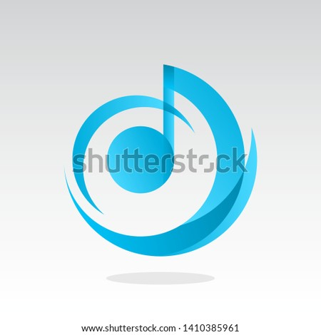 blue music logo design inspiration . music icon design template . musical notes icon . modern music logo . circle musical logo template