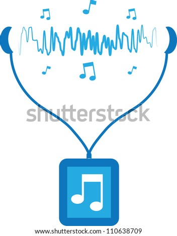 Blue music player with sound waves flowing from earbuds