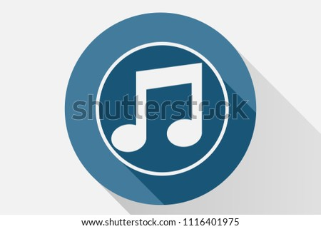 Blue musical note icon.