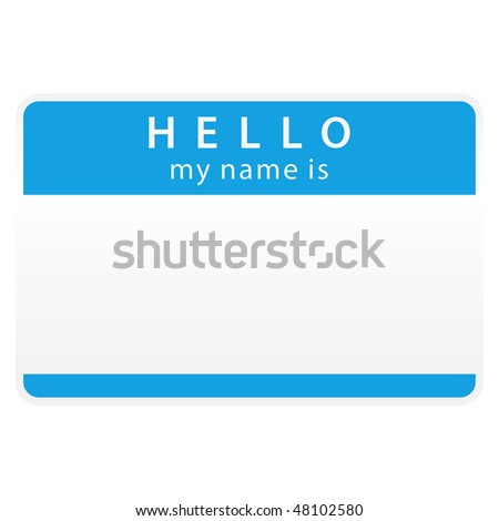 Blue name tag blank sticker «HELLO. My name is» on white background