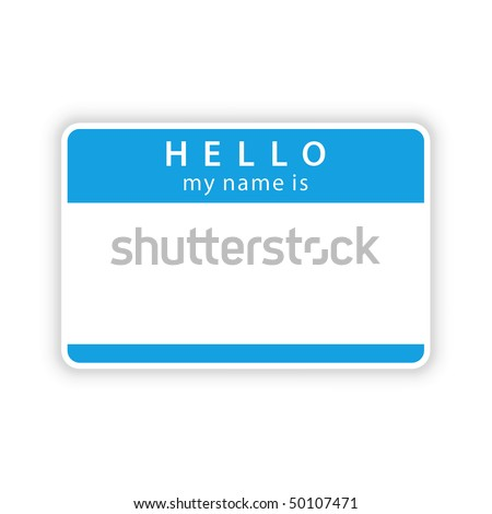 Blue empty name tag «HELLO. My name is» with shadow on white