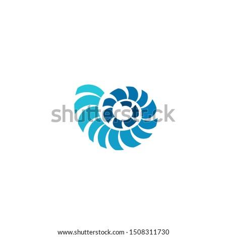 Blue Nautilus Shell with Fibonacci Spiral Sequence, Psychedelic Medicine Logo Design Vector