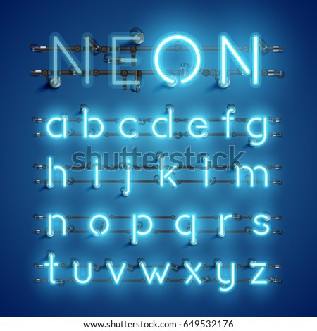 blue neon character font set on