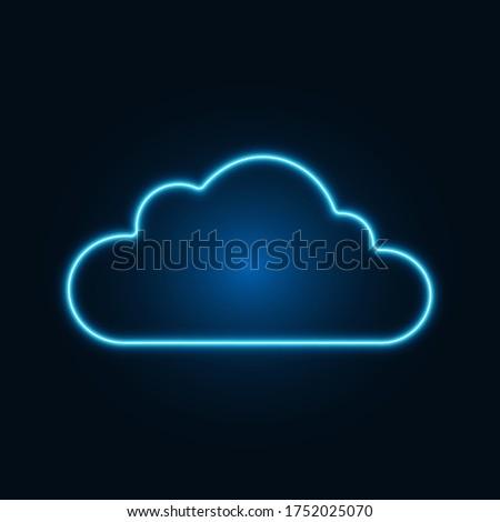 blue neon cloud on dark