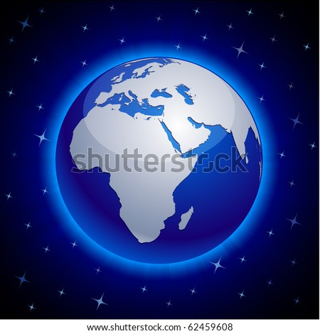 Blue neon high-detailed earth ball. Vector.