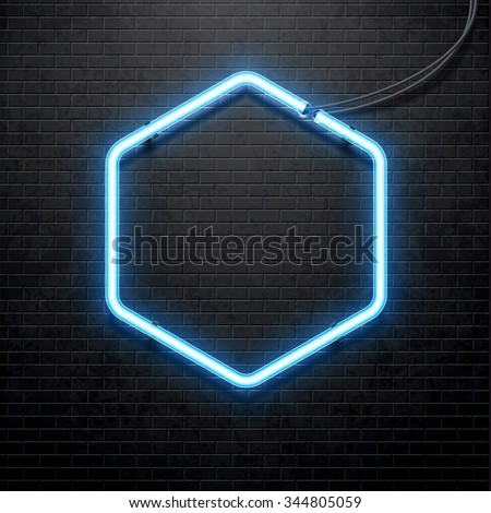blue neon lamp isolated on