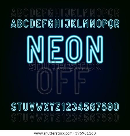 blue neon light alphabet font