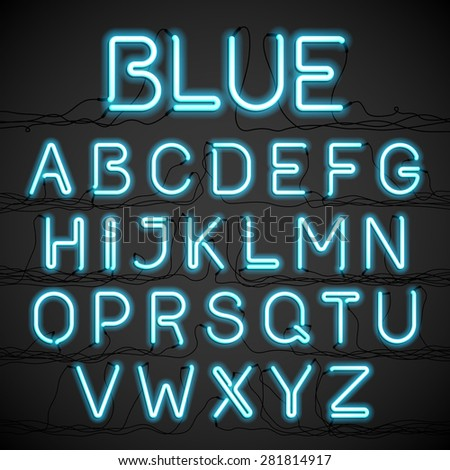 blue neon light alphabet with