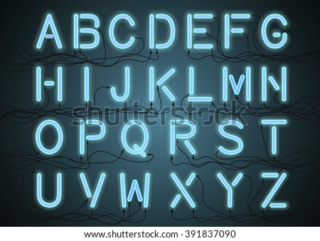 blue neon light bulbs alphabet