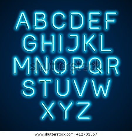 Blue neon light glowing alphabet. Vector.