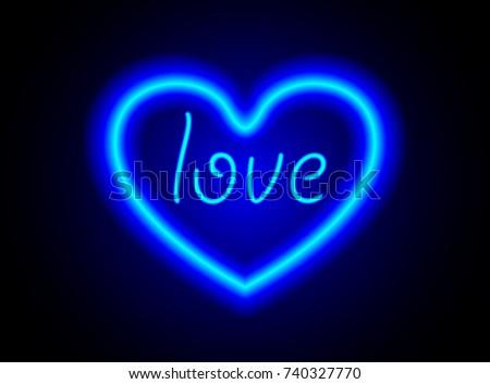 blue neon sign love in heart