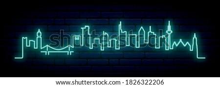 Blue neon skyline of Frankfurt. Bright Frankfurt City long banner. Vector illustration.