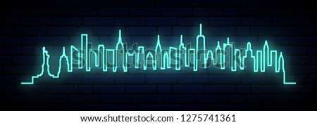 Blue neon skyline of New York city. Bright NYC long banner. Vector illustration.