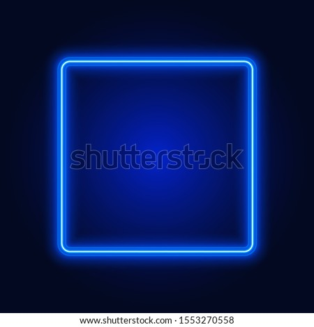blue neon square frame  sign on
