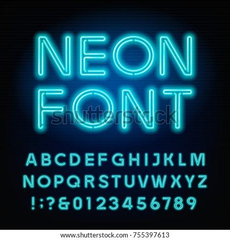 blue neon tube alphabet font