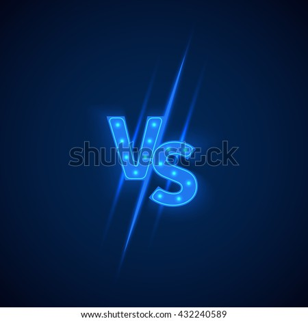 blue neon versus logo vs