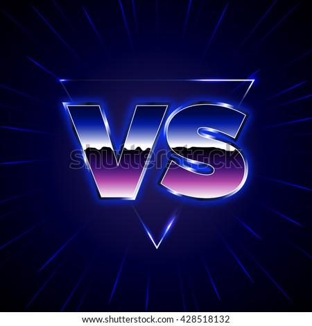 blue neon versus logo vs