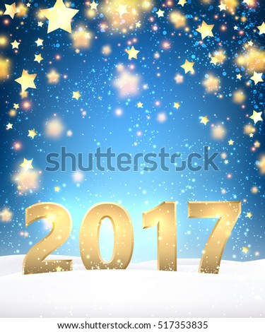 Blue 2017 New Year background with golden stars. Vector illustration. #517353835
