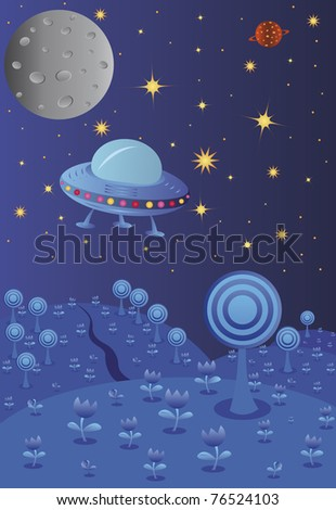 blue night landscape with