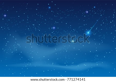 Blue night starry sky. Bright star to fall meteorite. Vector astronomy illustration