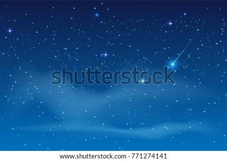 blue night starry sky bright