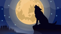Blue night. Wolf and yellow moon illustration. The wolf howls at the big yellow moon. Wolf's silhouette. Wolf sitting on a crest. Foggy forest. Moon covered with faded clouds amongst shinny stars.