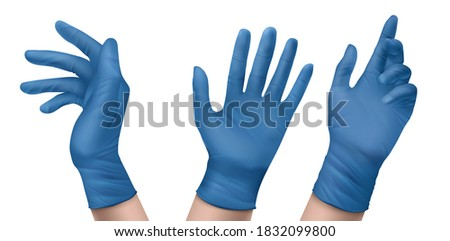 Blue nitrile medical gloves on hands. Vector realistic set of latex or rubber sterile gloves for doctor, surgeon or nurse. Hospital and laboratory equipment for protection against virus and infection ストックフォト ©