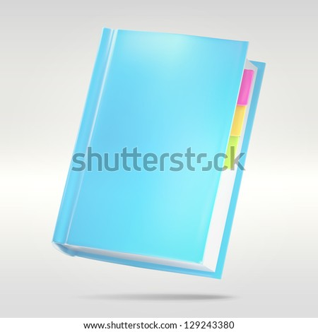 Blue notebook with tabs as favorites, contacts or address book illustration, eps10 vector