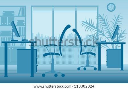 blue office interior - stock vector