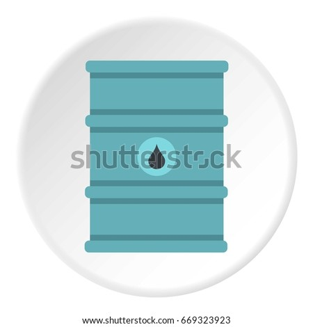 Blue oil barrel icon in flat circle isolated on white background vector illustration for web