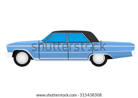 blue old car isolated on whit