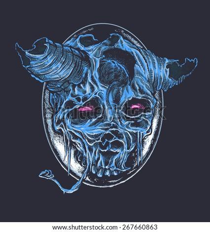 blue old demon skull