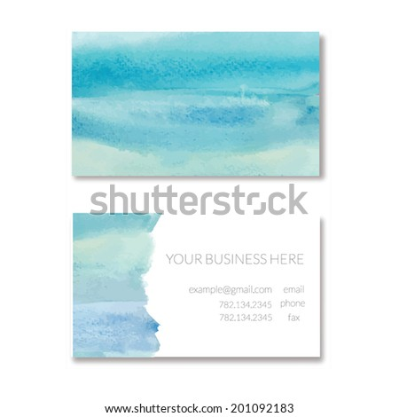 Blue Ombre Watercolor Business Card. Vector Business Card Template