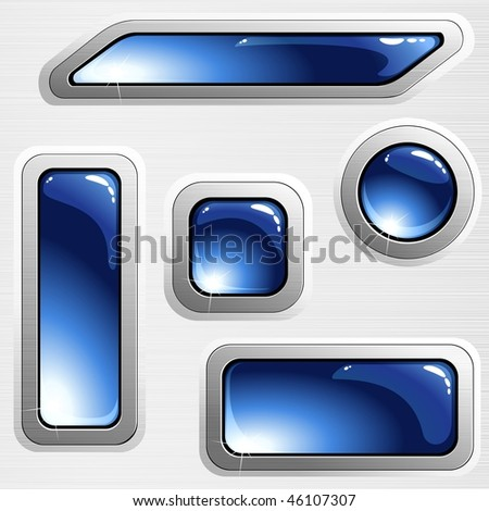 Blue on grey brushed steel banners and buttons (EPS10); JPG version also available
