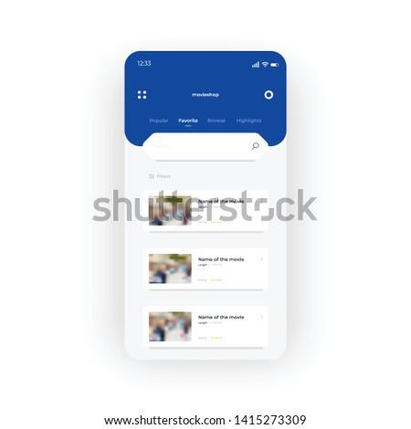 blue online movie shop ui  ux