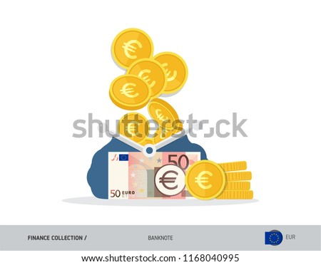 Blue opened purse with 50 Euro Banknote and coins. Flat style vector illustration. Business concept.