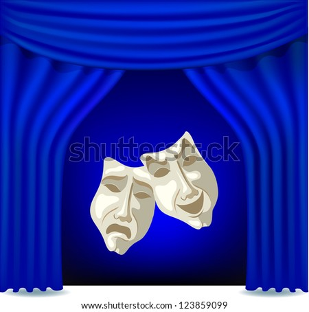 Blue opened theater curtain with masks