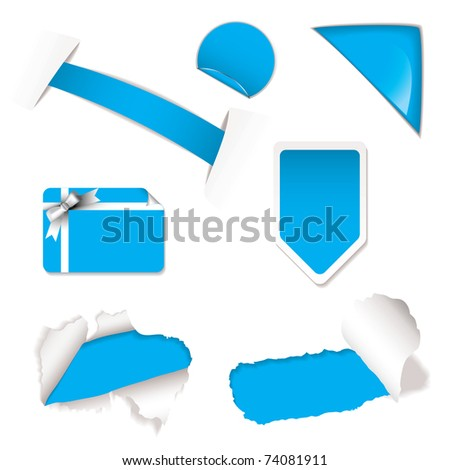 blue or cyan shop or web icons with torn paper and gift card