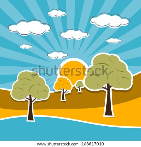 Blue, Orange Nature Scenery Retro Illustration with Clouds, Sun, Sky, Trees and River