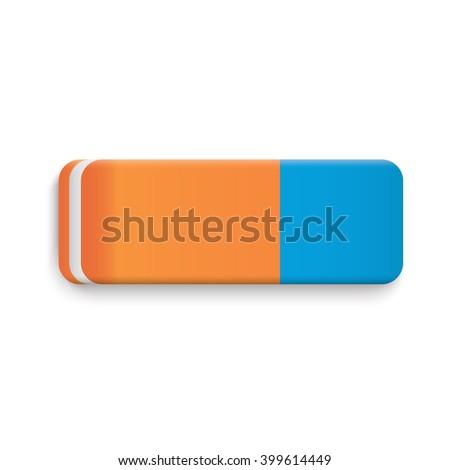 Blue Orange Rubber Eraser Realistic Vector.  Foto stock ©
