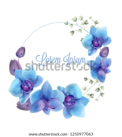 blue orchids watercolor wreath