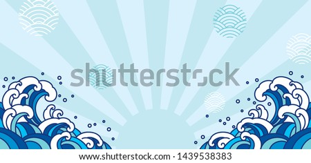 Blue orient wave illustration. Japan wave isolated on light blue shine and wave bubble. - Vector.