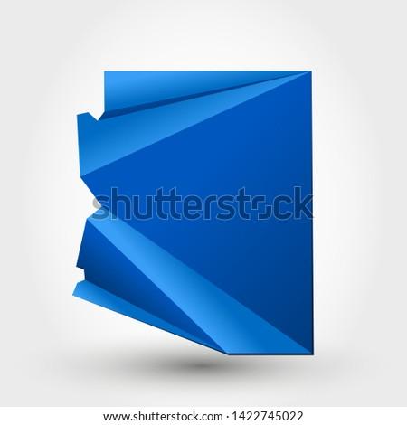 blue origami map of Arizona