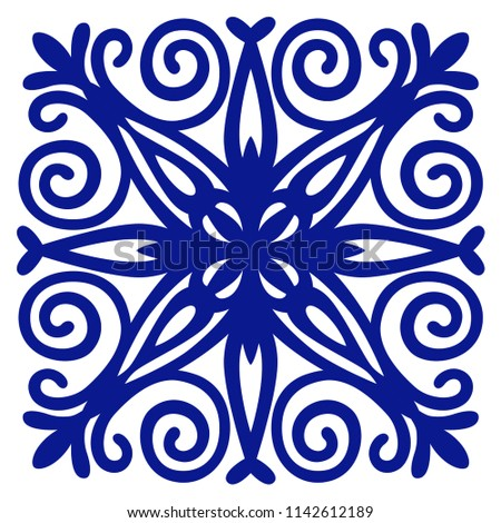 Blue ornament for ceramic decorative tile. Vector illustration