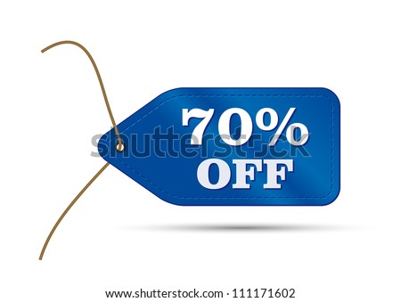 blue outlet tag sale with text sale 70%