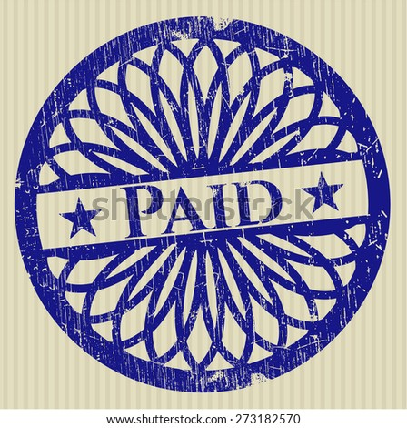 Blue paid rubber stamp
