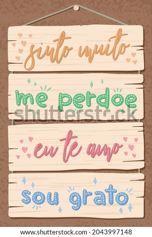 Blue Pallet Lettering in Brazilian Portuguese. Translation: 'I am really sorry' 'Forgive me' 'I love you' 'I'm grateful' Photo stock ©