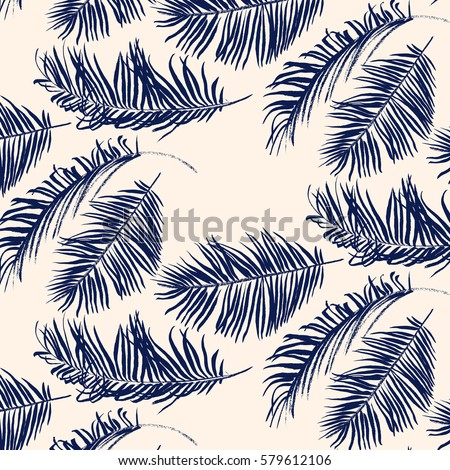 Blue palm leaves pattern